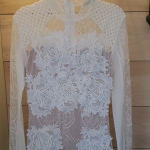 White Bodycon Lace Short Dress